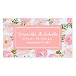 Girly Vintage Floral Pink Roses Peony Personalized Pack Of Standard Business Cards