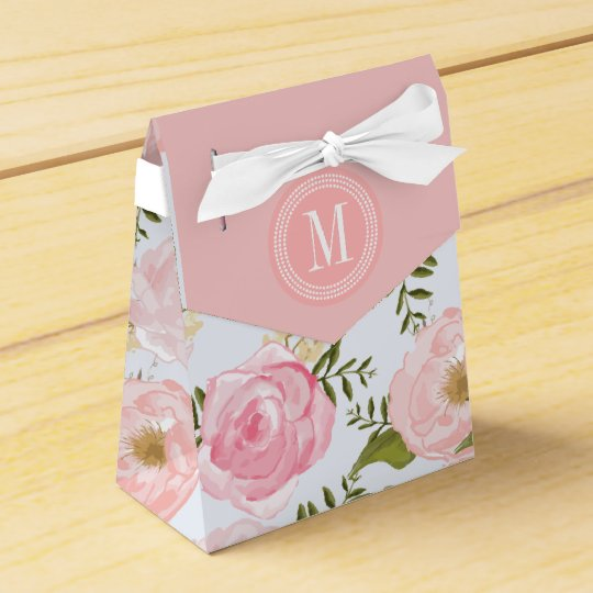 Girly Vintage Floral Pink Roses Peony Personalized Wedding Favor Boxes