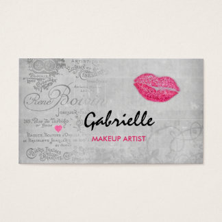 Girly Vintage Grunge Pink Lips Kiss Makeup Artist Business Card