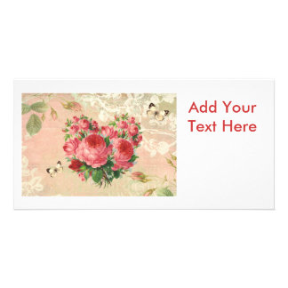 Girly Vintage Rose Heart Collage Customized Photo Card