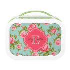 Girly Vintage Roses Floral Monogram Lunch Box