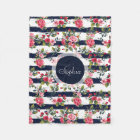 Girly vintage roses floral watercolor stripes fleece blanket