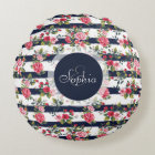Girly vintage roses floral watercolor stripes round pillow