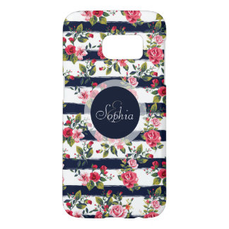 Girly vintage roses floral watercolor stripes samsung galaxy s7 case