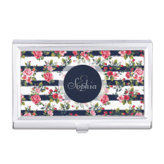 Girly vintage roses floral watercolour stripes business card holder