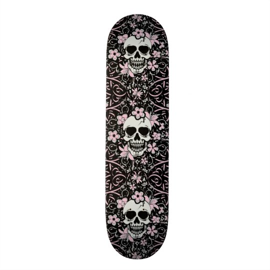 Girly Vintage Skull Skateboard