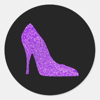 Girly Violet Glitter High Heel Black Classic Round Sticker