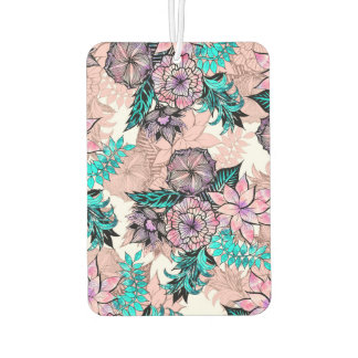 Girly Watercolor and Rose Gold Floral Illustration Car Air Freshener