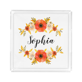Girly Watercolor Coral Floral Wreath Custom Text Acrylic Tray