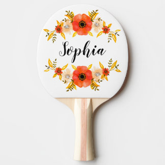 Girly Watercolor Coral Floral Wreath Custom Text Ping Pong Paddle