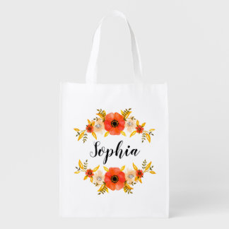 Girly Watercolor Coral Floral Wreath Custom Text Reusable Grocery Bag