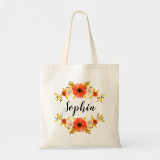 Girly Watercolor Coral Floral Wreath Custom Text Tote Bag