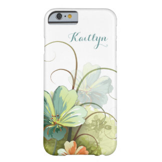 Girly Watercolor Floral Personalized Barely There iPhone 6 Case