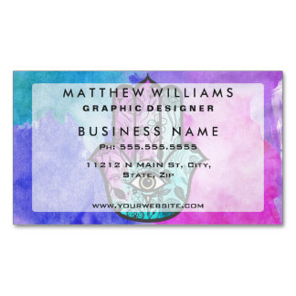 Girly Watercolor Floral Print Hamsa Hand of Fatima Magnetic Business Card