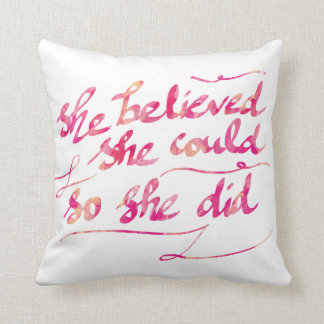 Girly Watercolor Pink She Did Script Typography Throw Pillow