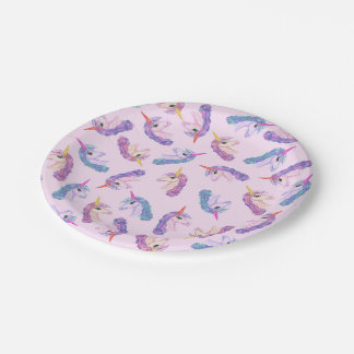 Girly Watercolor Unicorns Pattern in Pink Purple Paper Plate