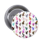 Girly Whimsical Cats aztec floral stripes pattern 2 Inch Round Button