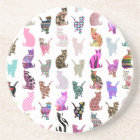 Girly Whimsical Cats aztec floral stripes pattern Coaster