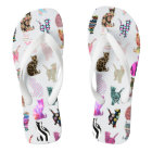 Girly Whimsical Cats aztec floral stripes pattern Flip Flops