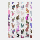 Girly Whimsical Cats aztec floral stripes pattern Kitchen Towel