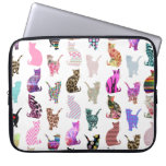 Girly Whimsical Cats aztec floral stripes pattern Computer Sleeve