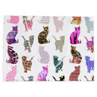 Girly Whimsical Cats aztec floral stripes pattern Large Gift Bag