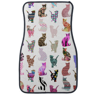 Girly Whimsical Cats aztec floral stripes pattern Floor Mat