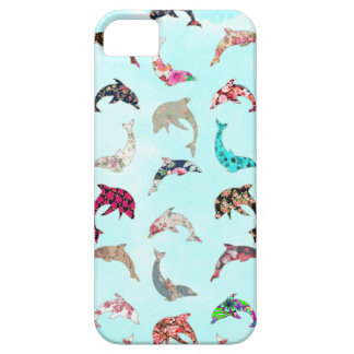 Girly Whimsical Dolphins Floral Pattern on Teal iPhone 5 Cover