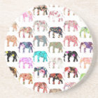 Girly Whimsical Retro Floral Elephants Pattern Coaster