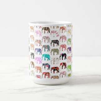 Girly Whimsical Retro Floral Elephants Pattern Coffee Mugs