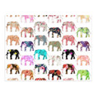 Girly Whimsical Retro Floral Elephants Pattern Postcard