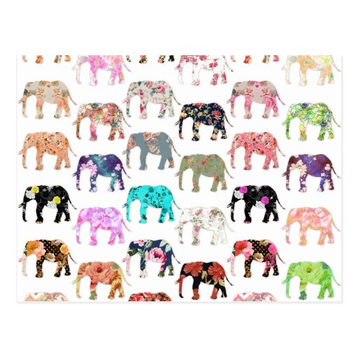 Girly Whimsical Retro Floral Elephants Pattern Post Cards
