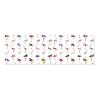 Girly Whimsical Retro Floral Flamingos Pattern Business Card Templates