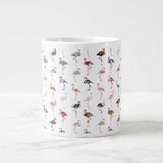 Girly Whimsical Retro Floral Flamingos Pattern Jumbo Mug