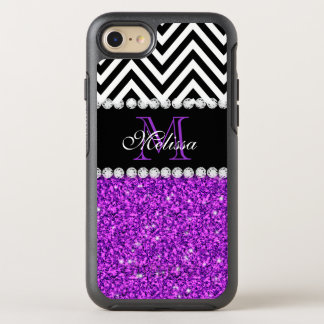 Girly White Faux Purple Glitter Chevron Monogram OtterBox Symmetry iPhone 7 Case