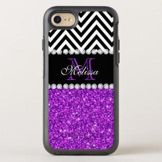 Girly White Faux Purple Glitter Chevron Monogram OtterBox Symmetry iPhone 8/7 Case