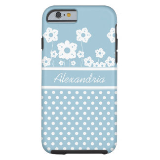 Girly White Flowers and Polka Dots on Light Blue Tough iPhone 6 Case