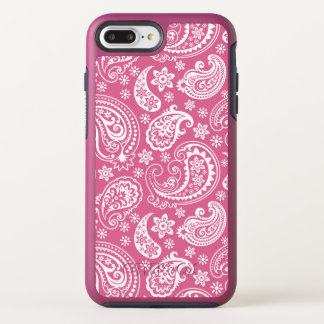 Girly White On Pink Vintage Paisley Pattern OtterBox Symmetry iPhone 8 Plus/7 Plus Case