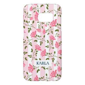 Girly White & Pink Stripes With Cute Roses Pattern Samsung Galaxy S7 Case