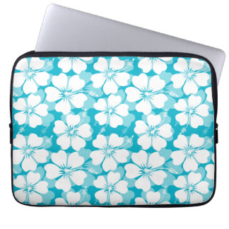 Girly White Tropical Hibiscus Pattern on Turquoise Laptop Sleeves