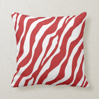 Girly Wild Red Zebra Print Throw Pillow