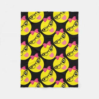 Girly Winking Emoji Fleece Blanket