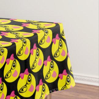 Girly Winking Emoji Tablecloth