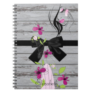 Girly Wood Texture,Flowers,Bow, Face -Personalized Spiral Notebook