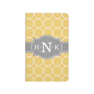 Girly Yellow Circle Pattern Grey Monogram Journal