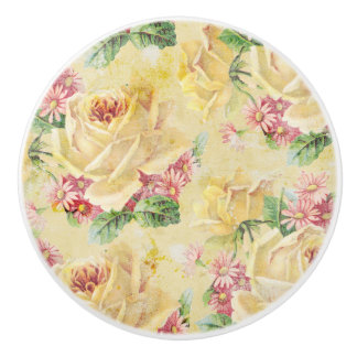 Girly Yellow Roses and Pink Daisies Ceramic Knob
