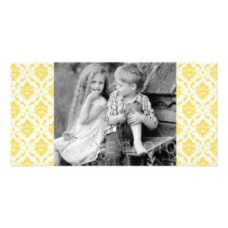 Girly Yellow White Vintage Damask Pattern Photo Card