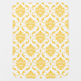 Girly Yellow White Vintage Damask Pattern Swaddle Blanket