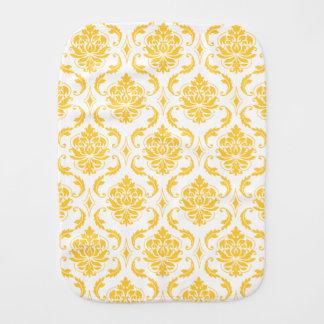 Girly Yellow White Vintage Damask Pattern Baby Burp Cloths