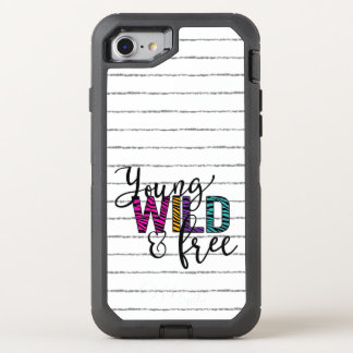 Girly Young, Wild and Free Gray Stripe Phone OtterBox Defender iPhone 7 Case